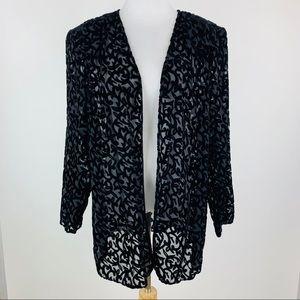 Patra Black Velvet Burnout Jacket Sz 18